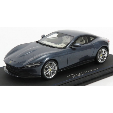 BBR-MODELS - 1/18 - FERRARI - ROMA 2020 - CON VETRINA - WITH SHOWCASE - BLU ROMA - BLUE GREY MET